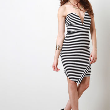 Striped Strapless Asymmetrical Dress