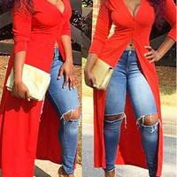 Red V-Neck High Slit Maxi Dress