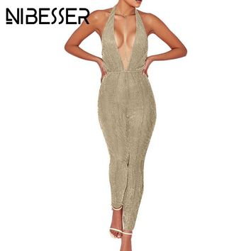 NIBESSER Fashion Clubwear Jumpsuits Women Sexy deep-v Halter Party Bodycon Playsuits 2017 Sleeveless Sequin Suits Z30