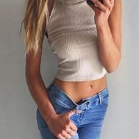 Sexy Knit Beige Simple Sola Tank top