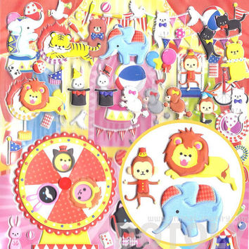 arge Elephant Monkey Bear Bunnies Shaped Circus Animals Themed Moveable Puffy Stickers | 2 Sheets | Scrapbook Decorating Supplies from Japan