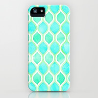 Watercolor Pattern in Aqua, Lime & Mint on White iPhone & iPod Case by micklyn