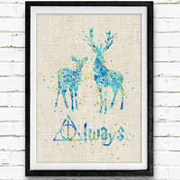 Harry Potter Poster, Patronus Charm Watercolor Art Print, Kids Decor, Wall Art, Home Decor, Not Framed, Buy 2 Get 1 Free!