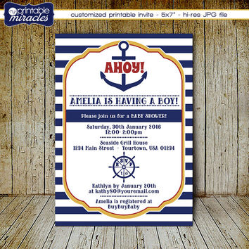 Nautical baby shower invitation / Printable ahoy it's a boy baby shower invite card