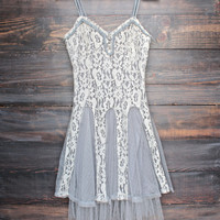 x shophearts - Ryu time will tell lace dress in grey