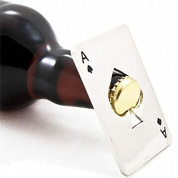 Stainless Steel Poker Card Beer Bottle Opener