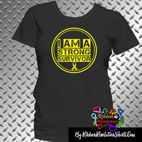 I am a Strong Survivor Shirts For Endometriosis, Sarcoma and Other Yellow Ribbon Causes