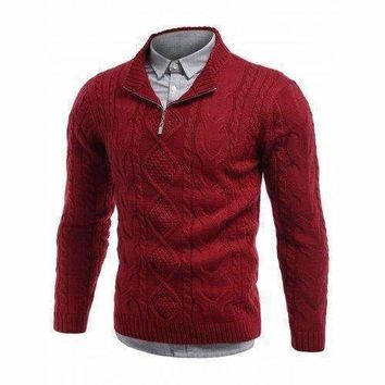 Cable Knit Stand Collar Half Zip Sweater - Red L