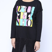 'The Taylor'  Black Carton Printed Sweatshirt