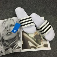 """""""Adidas"""" Summer Fashion Casual Classic Multicolor Stripe Slippers Beach Home Sandals Shoes"""