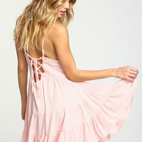 PINK LACE UP TIERED CREPE DRESS