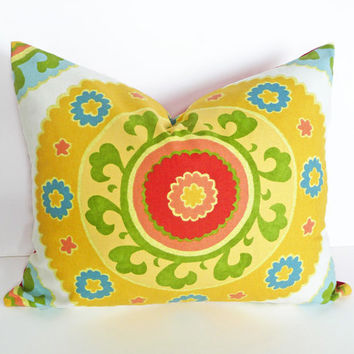 Yellow Suzani Pillows, Decorative Throw Pillow Covers Sunshine Yellow  Red Green Blue, Large Medallion, Unique Cushions,18x18, 16x20