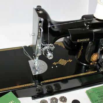 Vintage 1953 Singer 221 Portable Featherweight Sewing Machine and Carrying Case with Attachments