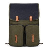 EcoCity Simple Vintage Cool Canvas Back pack Bookbags For School & College