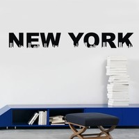 Olivia DIY Image Design Vinyl Removable Wall Decal New York City Skyline Graphic Saying Lettering Decal Quote Sticker Home Decal Mural Art Black