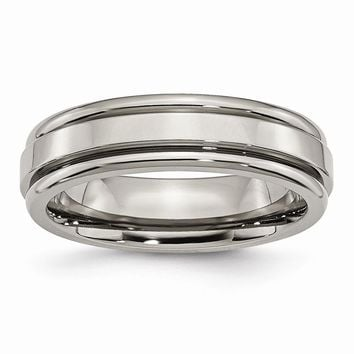 Grooved Edge Polished Ring in Titanium - 6 Mm