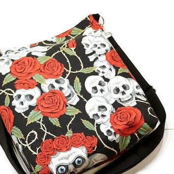Skulls and roses large sling bag, cross body shoulder purse. iPad tablet bag. Gift for her. Gothic style gift. Vegan.
