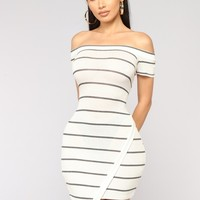 I Got Plans Striped Dress - White
