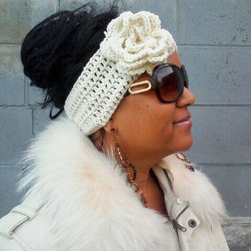Winter White Headband and Earwarmer With Removeable Flower