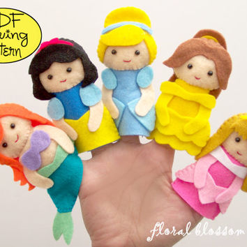 PDF Pattern: Disney Princess Felt Finger Puppets