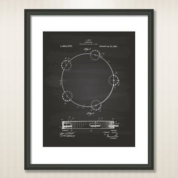 Tambourine 1920 Patent Art Illustration - Drawing - Printable INSTANT DOWNLOAD - Get 5 colors background