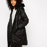 Monki Faux Fur Hooded Parka