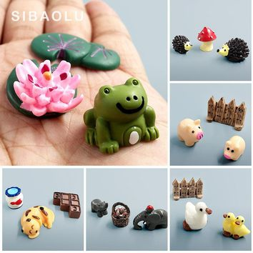 Kawaii Elephant, Cow, Pig, Frog, Duck, Hedgehog, Turtle, Dog, Cat, Decor Mini Fairy Garden Animal Statue Miniature Resin Craft