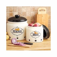 Crock Storage Set Vegetable Onion Potato Countertop Vented Lids Earthenware NEW