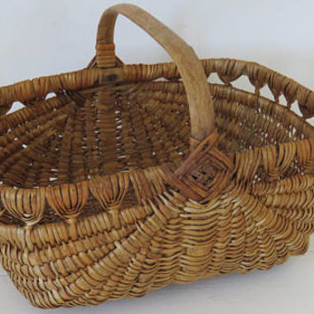 Vintage French, Rustic, Willow Basket