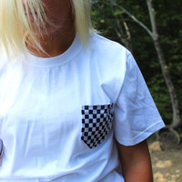 Black and White Checkerboard Patterned Pocket Tee