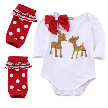 Xmas Newborn Baby Girls Boy Romper + Leg Warmers Outfits Gifts Chirstmas Clothes