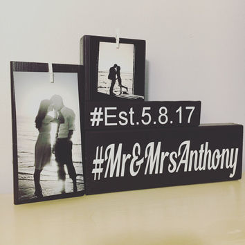 Wedding gift Mr and Mrs gift wooden sign wood sign entry way decor farmhouse decor wedding hashtag sign anniversary gift for her love sign