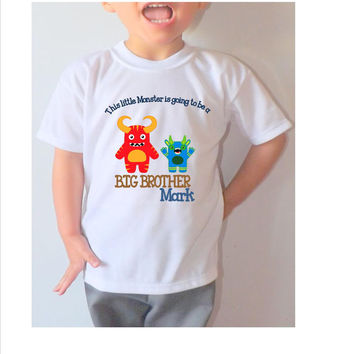 """Big brother shirt, personalized cute boys  shirt  short sleeves  """"This little monster is going to be a big brother""""  kids tee"""