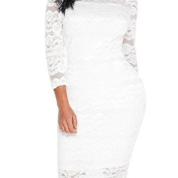 White Lace Scalloped Off Shoulder Midi Dress