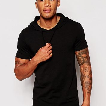 ASOS | ASOS Muscle Fit T-Shirt With Hood And Stretch at ASOS