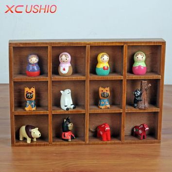 Multifunctional Retro Wooden Storage Box Creative Desktop Wood Box Organizer Jewelry Toys Potted Plants Container