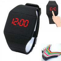 Fashion Men Women Sport Touch Screen Square TPU Digital LED Wrist Watch Black