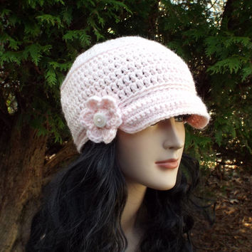 Blush Pink Cadet Hat - Womens Military Cap with Flower - Crochet Hat with Visor
