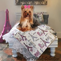 Complete Bed Set Small Pink White Grey Durable Wood Dog Bed - Duvet - Pet Bedding-Dog Pillow