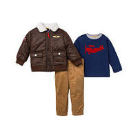 Little Me Boys 3 Piece Brown Aviator Jacket, Blue Plane Printed Long Sleeve Top and Tan Corduroy Pant Set