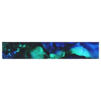 "Claire Day ""Neptune"" Blue Multicolor Painting Table Runner"