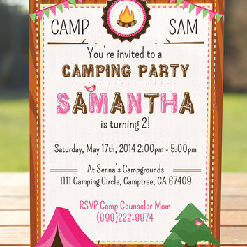 Camping Invitation / Girl Scout Invitations / Camping Party / Glamping Invitation