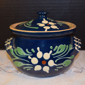 1950's Handcrafted Bean Pot Handles Lid Vintage Hand Painted Blue Lidded Casserole Individual Serving Retro Farmhouse Rustic Kitchen