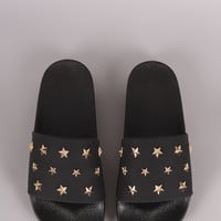 Stars Accent Open Toe Slide Sandal | UrbanOG