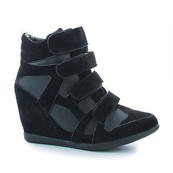 Woo70 Black Pu by Callie Shoes, Velcro Multi Strap Hidden High Wedge Heel Ankle Fashion Sneakers