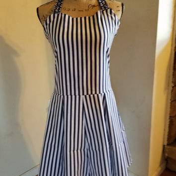 Nautical - theme - anchors  - stripes - pinup - rockabilly  - retro - vintage - style - halter - dress - with - drop - waist - skirt