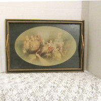 Handled Serving Tray With Victorian Ball Scene Under Glass Vintage Collectible Gift Item 2387