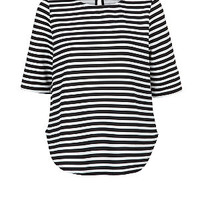 Monochrome Stripe Waffle Textured Top