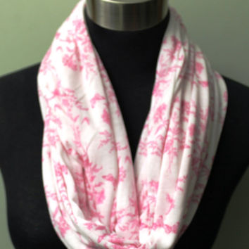 Light Knit, Pink Floral Infinity Scarf
