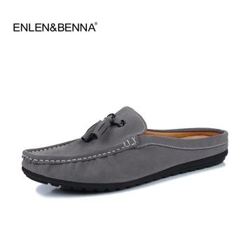 2017 Summer Men Slippers Casual Luxury Brand Mens Suede Loafers Leather Half Slipper Slip On Italian Driving Shoes Men Moccasins